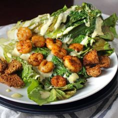 Pan Seared Chipotle Shrimp with Grilled Romaine and Homemade Caesar Dressing - Whole Food | Real Families
