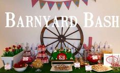 Table Decor / Background: Wagon wheel, wooden planter boxes (could use to hold food), picket fencing.