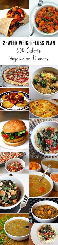 2 week weight loss plan 300 calorie vegetarian dinners | fat loss