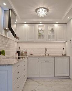 Elegant Green Kitchen Doors - Home Design Kitchen Room Design, Home Room Design, Kitchen Cabinet Design, Modern Kitchen Design, Home Decor Kitchen, Interior Design Kitchen, Diy Kitchen, Home Kitchens, Kitchen Ideas
