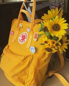yellow, flowers, and aesthetic image - Fjällräven Kanken - Flower