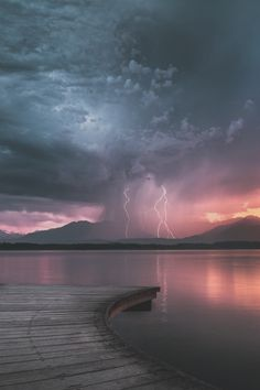 "earthlycreations: "" Lightning at Sunset by (Alan Montesanto) """