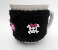 Knit Black Sparkly Mug Cup Cozy with Skull Buttons by stinkR, $17.00