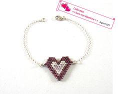I love my Valentine : bracelet argent 925 et perles tissées à l'aiguille framboise foncé