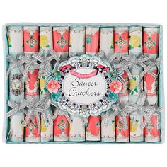 Jubilee - Tea Party 'Pastries & Pearls' Mini Saucer Crackers, Pack of 10 at John Lewis