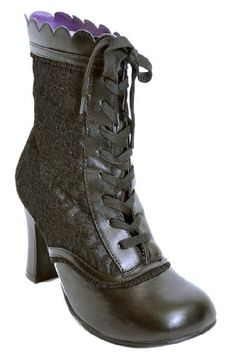 GRANNY Gothic Lolita Lace Tie Front DOLL Booties STIEFELE...…