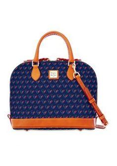 Dooney  Bourke Navy Texans Zip Satchel Bag