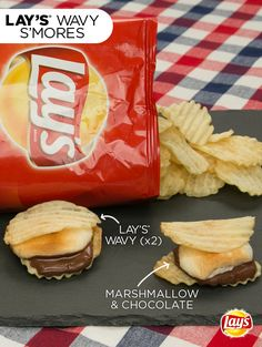 LAY'S Wavy S'mores: The 4th of July hack that wows!   Ingredients:  16 Wavy Lay's chips  8 large marshmallows   Hershey's bar   Directions:  1) Preheat oven to 350 degrees.  2) Top each potato chip with one or two squares of chocolate and a marshmallow  3) Bake for 3-5 minutes, watching carefully so that the     marshmallows brown but the chocolate doesn't scorch.  4) Pull out of oven and top with another chip.  5) Let sit to harden for approximately 1 minute.