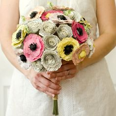 Spring Bridal Bouquet Made from the Novels of Jane Austen - Poppy and Rose Book Page Flowers - Pink, Peach, Yellow, Cream - Recycled Wedding...