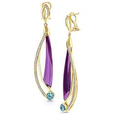 Martha Seely Design Shooting Stars Comet earrings in yellow gold set with 25 carats of amethysts, Swiss blue topaz and diamonds. Diamond Dangle Earrings, Art Deco Earrings, Blue Topaz Diamond, Simple Jewelry, Luxury Jewelry, Jewelery, Jewelry Design, Gemstones, Shooting Stars