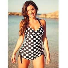 LOVE this suit!!! Big Polka Top, Black/White