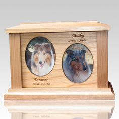The Two Forever Picture Cremation Urn is made from finest cherry wood. The urn will create a memorial for your loved pet and give peace for eternity.  The ashes are placed in the urn through an access behind the picture.
