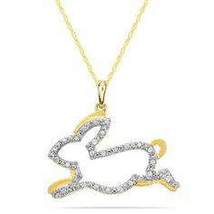 10K Gold & Diamond Bunny Pendant - Easter Bunny Jewelry