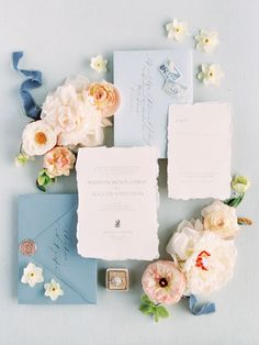 Wedding Design blue wedding stationary with hand made paper and different shades of blue for the envelopes, rose gold wax seal and romantic calligraphy and prints Wedding Invitation Paper, Wedding Stationary, Wedding Paper, Invites, Invitation Cards, Blue Wedding Stationery, Spring Wedding Invitations, Custom Stationery, Stationery Design