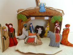 Soft Sculpture - Nativity Scene - Puffy Figures stow away inside - Great take along to Grandma's $29.99