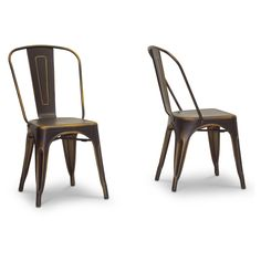 Baxton Studio French Industrial Dining Arm Chair - Antique Copper - Set of 2 - WSI2252