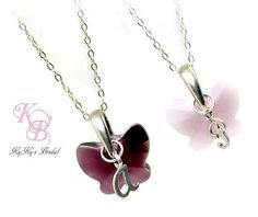 Flowergirl Jewelry, Butterfly Necklace, Choice of Color, Personalized Flower Girl Jewelry, Flowergirl Gift, Butterfly Jewelry, Gift for Girl | KyKy's Bridal, Handmade Bridal Jewelry, Wedding Jewelry