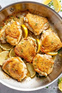 Roast Lemon Chicken thighs with crispy skin pan, seared then oven baked for tender and juicy chicken full of flavour! Your new favourite chicken recipe is here! With a kick of garlic and a touch of herbs, simple to make with minimal ingredients and maximum flavour! | cafedelites.com