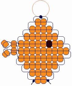 Goldfish Materials: 2 yds. cord or plastic lacing 1 lanyard hook or keyring 53 orange pony beads 1 black pony bead