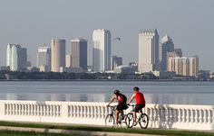 The southern end of Bayshore Boulevard offers a stunning view of the downtown Tampa skyline.