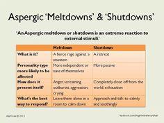 Asperger Meltdowns & Shutdowns