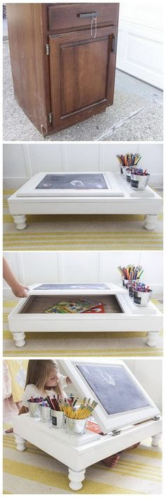 creative furniture DIY Childs Desk with Kitchen Cabinet: Never throw away old cabinets next time. Repurpose them into a portable desk for your elementary-aged child with the tutorial here. Diy Furniture Hacks, Refurbished Furniture, Repurposed Furniture, Kids Furniture, Kitchen Furniture, Furniture Makeover, Western Furniture, Antique Furniture, Reproduction Furniture