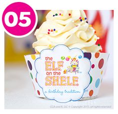 DIY Cupcake Wraps - Part of the DIY Elf on the Shelf Birthday Party Collection! Birthday Elf, Birthday Chair, Birthday Cupcakes, It's Your Birthday, Birthday Ideas, Cupcake Wraps, Diy Cupcake, The Elf, Elf On The Shelf