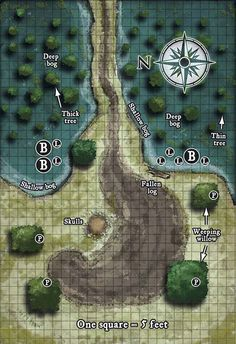 Scenery Map: Bogs, Willows, and Path