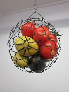 Wire Hanging Fruit or Vegatable Sphere Basket by CharestStudios