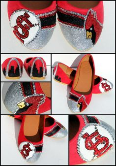 St. Louis Cardinals Red Bird Crystal and Glitter Flats. $95.00, via Etsy.