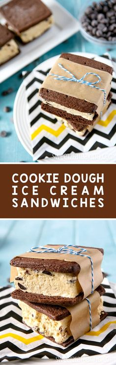 Beat the heat with this Chocolate Chip Cookie Dough Ice Cream Sandwiches recipe. Soft chewy chocolate cookies filled with a generous serving of delicious cookie dough ice cream. Homemade Cookie Dough, Homemade Cookies, Yummy Cookies, Frozen Desserts, Fun Desserts, Dessert Recipes, Frozen Treats, Chewy Chocolate Cookies, Chocolate Chip Cookie Dough