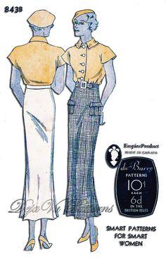 Du Barry 843B Vintage 1930s Top and Skirt Sewing Pattern by DejaVuPatterns