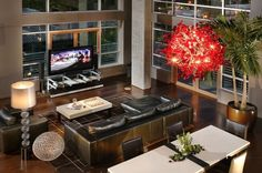 Contemporary Living Room : Chandelier, Glass Wall, Open Floor Plan ...
