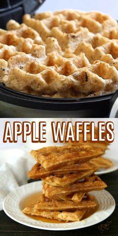 Healthy Waffles, Savory Waffles, Healthy Vegan Desserts, Vegan Breakfast Recipes, Gluten Free Waffles, Honey Recipes, Baking Recipes, Vegan Recipes, Apple Waffle Recipe