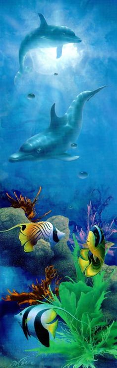 Artist David Miller,Seacapes and seascape paintings, Dolphin art and dolphin paintings by David Miller Sea Dolphin, Dolphin Art, Dolphin Painting, David Miller, Seascape Paintings, Hana, Under The Sea, Dolphins, Pets