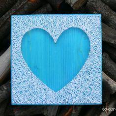 Turquoise heart silhouette string art