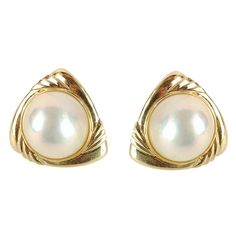 14K Yellow Gold Large Mabe Pearl Earrings
