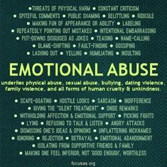 It occurs to me that I have not yet clearly defined the 6 types of abuse we most commonly run across. Id like to take the opportunity to use this post to delve a little deeper into defining