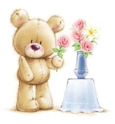 Teddy Bear - By: Marina Fedotova Tatty Teddy, Gifs Cute, Gifs Disney, Urso Bear, Wallpaper Animes, Art Mignon, Minnie Png, Blue Nose Friends, Bear Cartoon