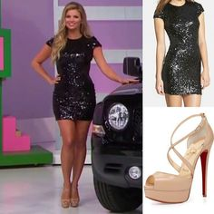"Featured on @therealpriceisright model @amberlancaster007 on the show aired on 12/18 Dress find 👗: @dressthepopulation 'Sabrina' Black Sequin Body-Con Dress Shoes find 👠: @louboutinworld ""Cross Me"" Nude Leather Platform Sandals #thepriceisright #priceisright #tpir #amberlancaster #dressthepopulation #christianlouboutin"