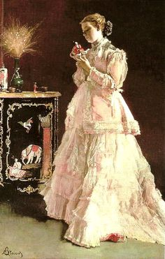 Alfred Stevens / The detail on the dress!