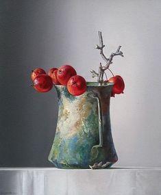«Adriana van Zoest 🎨 Ornamental Apples in a Roman Jug