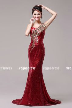 2014 new Custom made red one shoulder sequins lace by vegasdress, $169.99