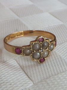 Stunning Victorian 15k gold Ruby & seed Pearl ring,1884 | eBay