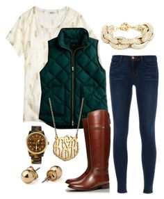 gold and hunter green by the-southern-prep on Polyvore featuring polyvore, fashion, style, J.Crew, J Brand, Tory Burch, BaubleBar, Michael Kors and American Apparel