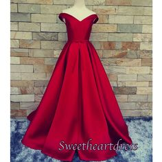 2016 Wine red satin long A-line prom dress