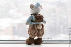 Купить Мишка в шапуле - вязаный, игрушки, заяц, кролик, семья, бирюзовый, Василиса, романова, коллекционный