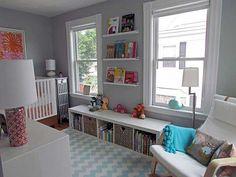 Nursery Design with Book Shelves