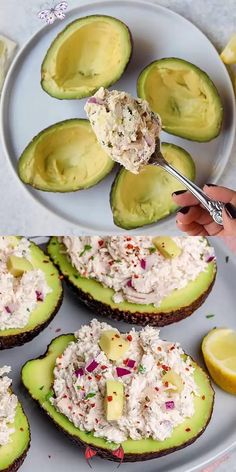 carbifunow HEALTHY CHICKEN SALAD STUFFED AVOCADOS -   - #avocados #chicken #CookingTips #EasyRecipes #healthy #HealthyRecipes #salad #stuffed<br> Tasty Meal, Healthy Dinner Recipes, Low Carb Recipes, Cooking Recipes, Easy Recipes, Healthy Meals, Greek Recipes, Healthy Organic Recipes, Lunch Recipes