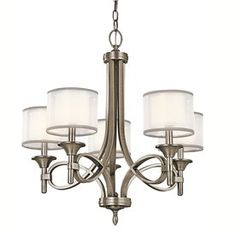 Kichler Lacey 25-In 5-Light Antique Pewter Vintage Etched Glass Shaded Chandelier